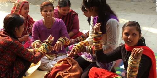 The women of Apne Aap have survived human trafficking and now make jewelry from upcycled saris for Rosena Sammi Jewelry.